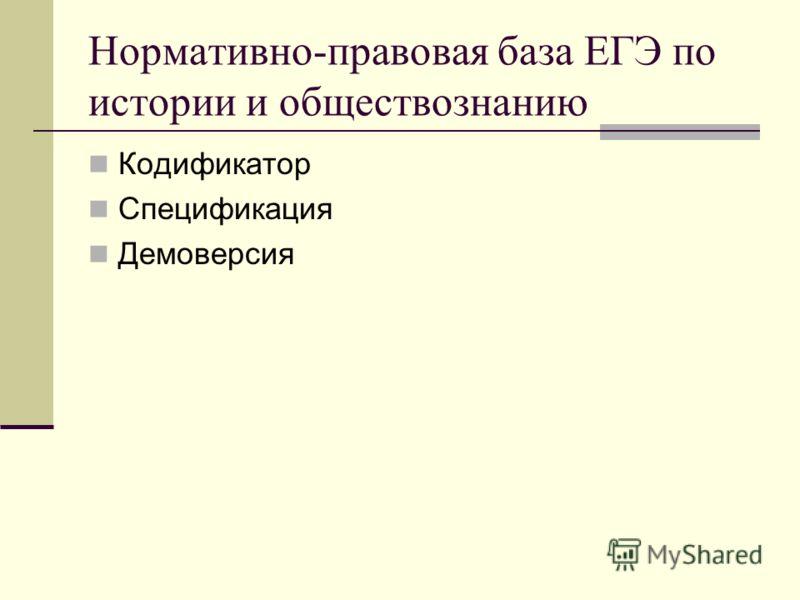 Нормативно-правовая база ЕГЭ по истории и обществознанию Кодификатор Спецификация Демоверсия