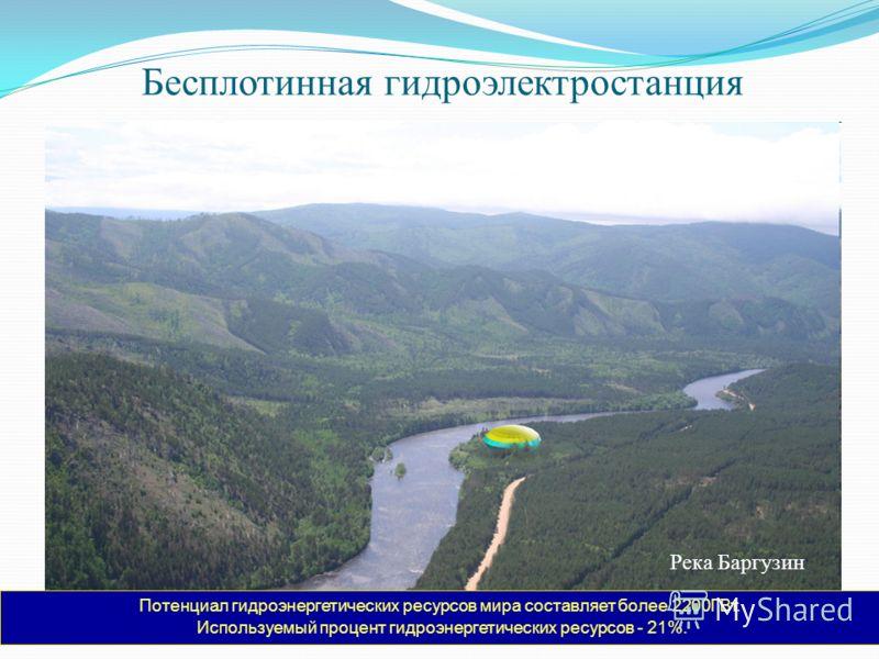 Река Баргузин Потенциал гидроэнергетических ресурсов мира составляет более 2200ГВт. Используемый процент гидроэнергетических ресурсов - 21%. Бесплотинная гидроэлектростанция
