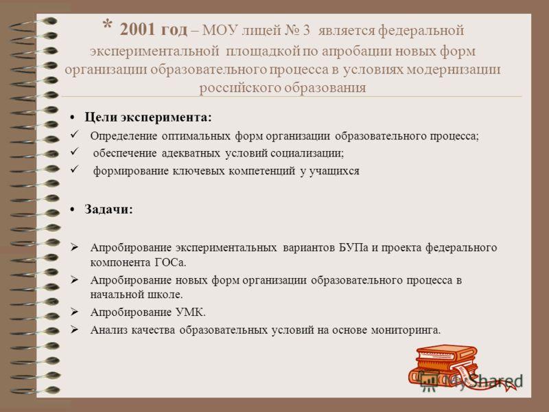 * 2001 год – МОУ лицей 3 является федеральной экспериментальной площадкой по апробации новых форм организации образовательного процесса в условиях модернизации российского образования Цели эксперимента: Определение оптимальных форм организации образо