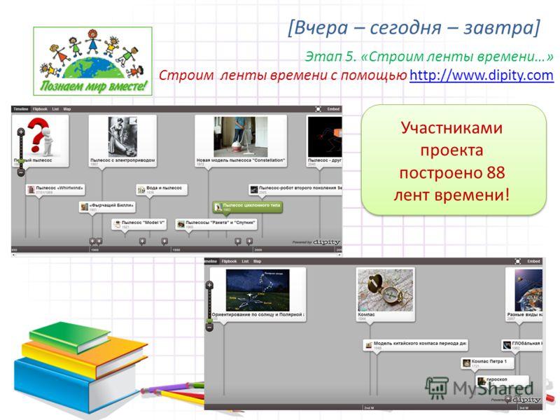 [Вчера – сегодня – завтра] Этап 5. «Строим ленты времени…» Строим ленты времени с помощью http://www.dipity.comhttp://www.dipity.com Участниками проекта построено 88 лент времени!