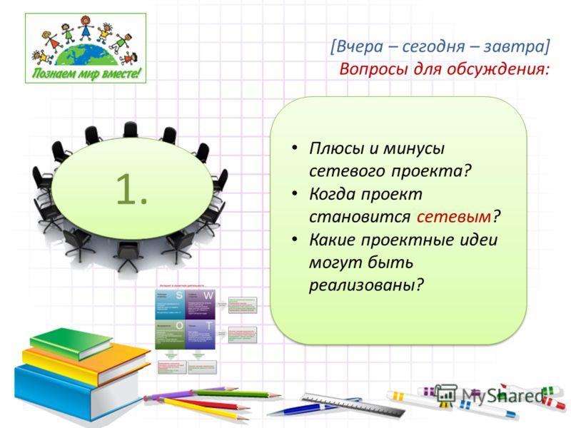 Плюсы и минусы сетевого проекта? Когда проект становится сетевым? Какие проектные идеи могут быть реализованы? 1. [Вчера – сегодня – завтра] Вопросы для обсуждения: