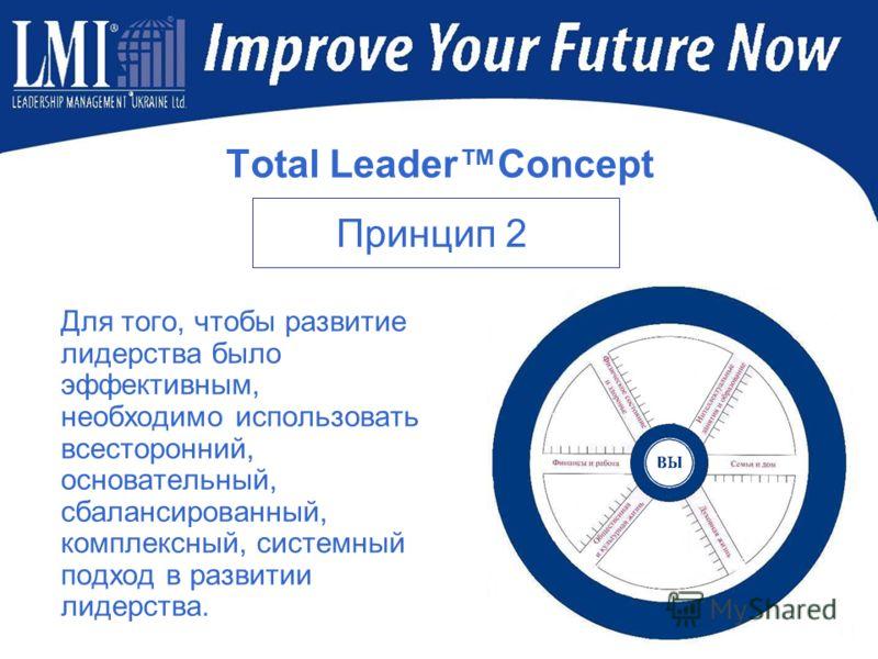 Total LeaderConcept Для того, чтобы развитие лидерства было эффективным, необходимо использовать всесторонний, основательный, сбалансированный, комплексный, системный подход в развитии лидерства. Принцип 2