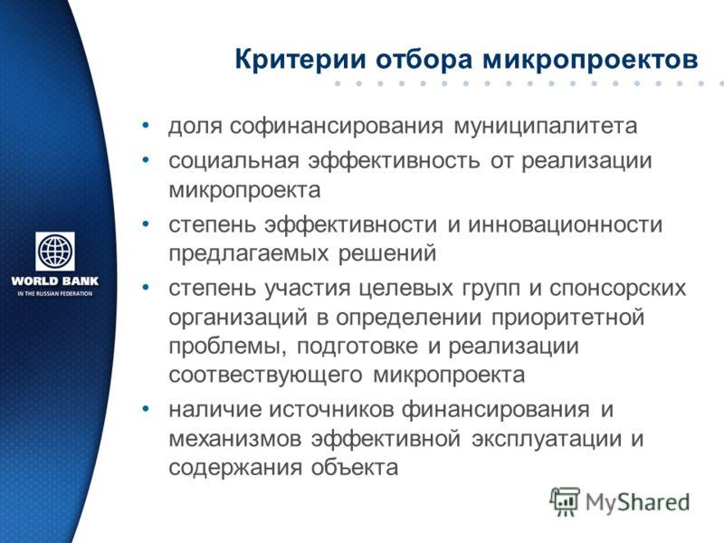 Критерии отбора микропроектов доля софинансирования муниципалитета социальная эффективность от реализации микропроекта степень эффективности и инновационности предлагаемых решений степень участия целевых групп и спонсорских организаций в определении