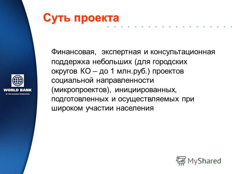 Суть проекта Финансовая, экспертная и консультационная поддержка небольших (для городских округов КО – до 1 млн.руб.) проектов социальной направленности (микропроектов), инициированных, подготовленных и осуществляемых при широком участии населения