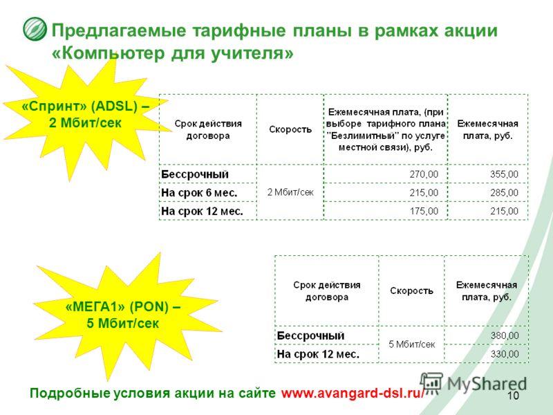 10 «Спринт» (ADSL) – 2 Мбит/сек Предлагаемые тарифные планы в рамках акции «Компьютер для учителя» «МЕГА1» (PON) – 5 Мбит/сек Подробные условия акции на сайте www.avangard-dsl.ru/