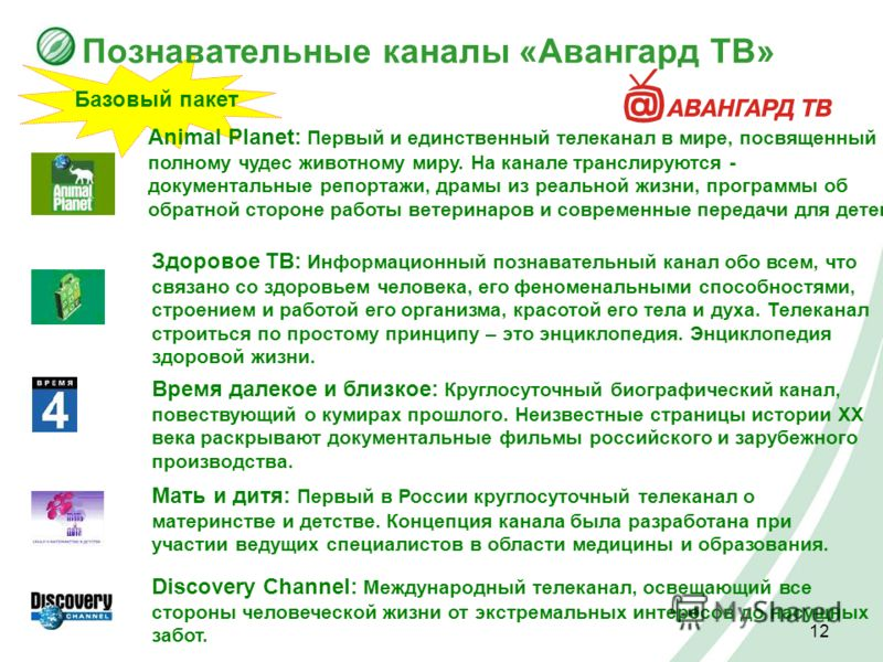 12 Познавательные каналы «Авангард ТВ» Базовый пакет Animal Planet: Первый и единственный телеканал в мире, посвященный полному чудес животному миру. На канале транслируются - документальные репортажи, драмы из реальной жизни, программы об обратной с