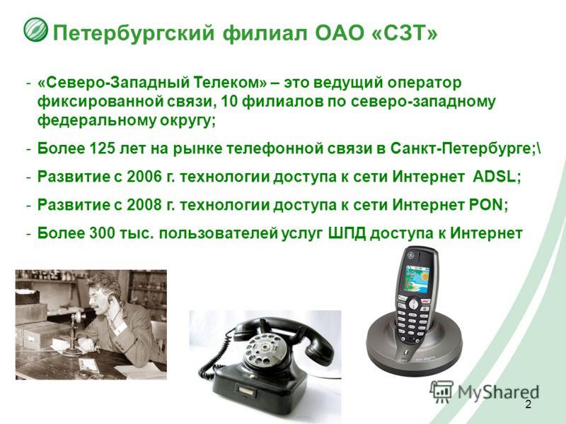 2 Петербургский филиал ОАО «СЗТ» -«Северо-Западный Телеком» – это ведущий оператор фиксированной связи, 10 филиалов по северо-западному федеральному округу; -Более 125 лет на рынке телефонной связи в Санкт-Петербурге;\ -Развитие c 2006 г. технологии