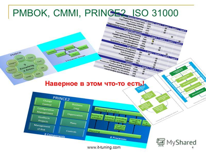4 Наверное в этом что-то есть! PMBOK, CMMI, PRINCE2, ISO 31000 www.it-tuning.com 4