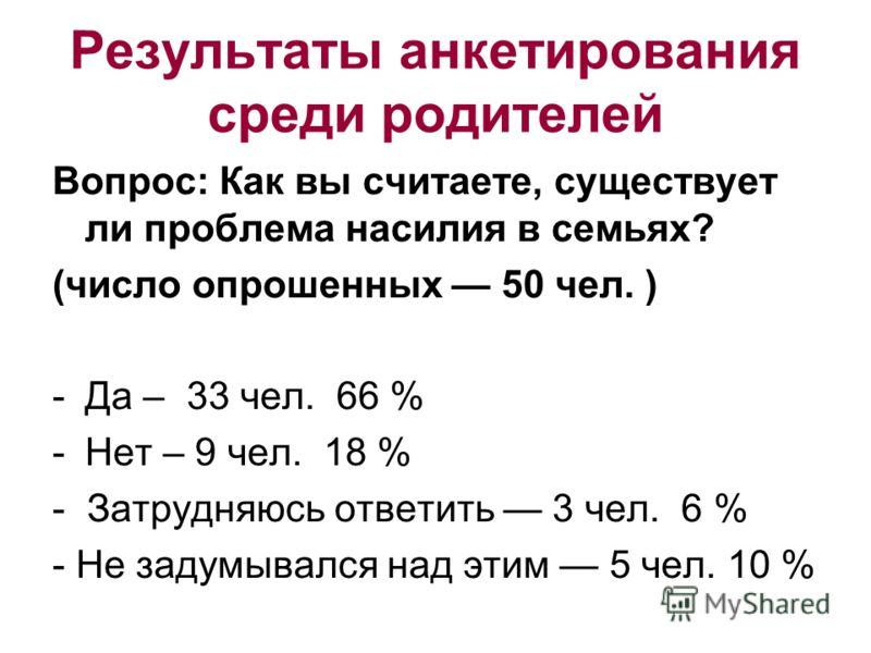 Результаты анкетирования среди родителей Вопрос: Как вы считаете, существует ли проблема насилия в семьях? (число опрошенных 50 чел. ) -Да – 33 чел. 66 % -Нет – 9 чел. 18 % - Затрудняюсь ответить 3 чел. 6 % - Не задумывался над этим 5 чел. 10 %