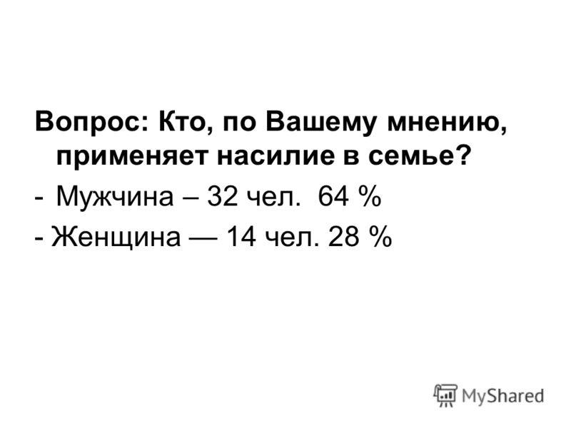 Вопрос: Кто, по Вашему мнению, применяет насилие в семье? -Мужчина – 32 чел. 64 % - Женщина 14 чел. 28 %