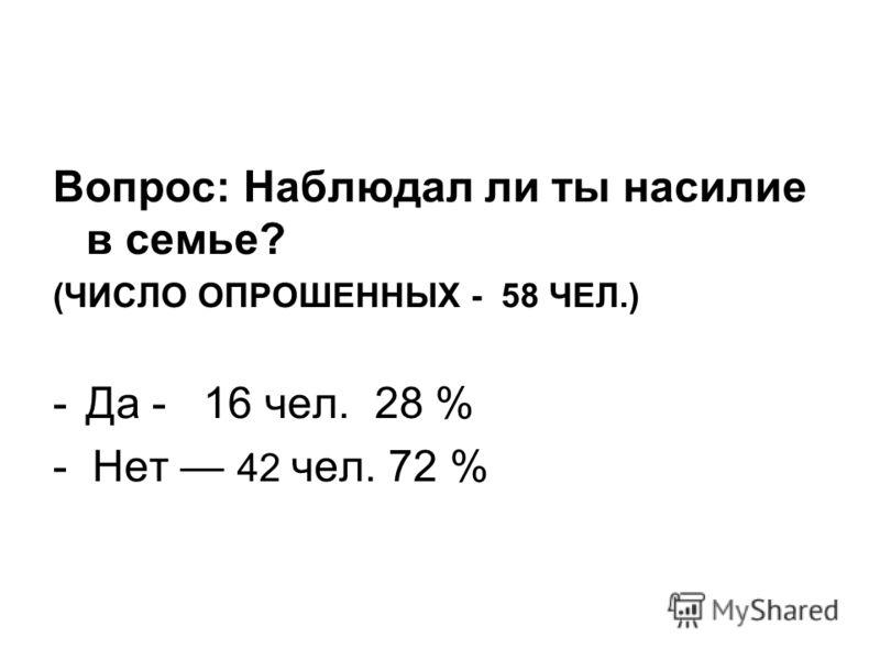 Вопрос: Наблюдал ли ты насилие в семье? (ЧИСЛО ОПРОШЕННЫХ - 58 ЧЕЛ.) -Да - 16 чел. 28 % - Нет 42 чел. 72 %