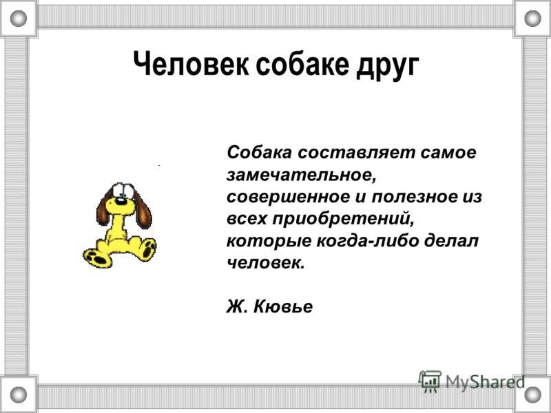 Человек собаке друг Собака составляет самое замечательное, совершенное и полезное из всех приобретений, которые когда-либо делал человек. Ж. Кювье
