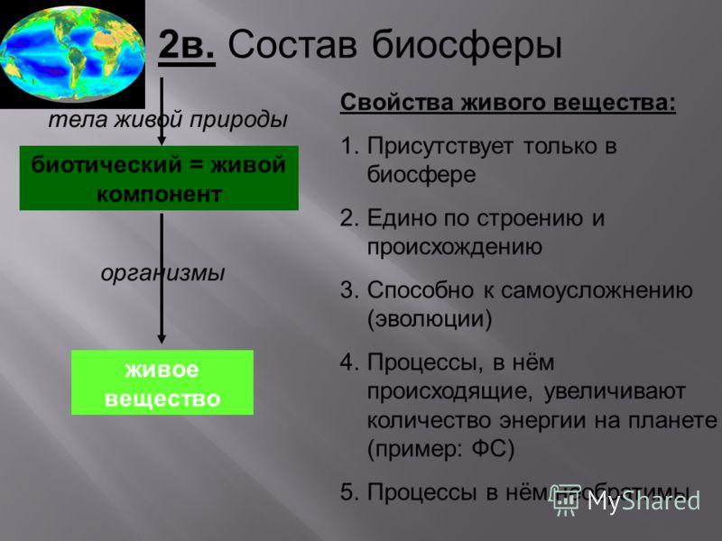 2в. Состав биосферы биотический = живой компонент организмы живое вещество тела живой природы живое вещество Свойства живого вещества: 1.Присутствует только в биосфере 2.Едино по строению и происхождению 3.Способно к самоусложнению (эволюции) 4.Проце