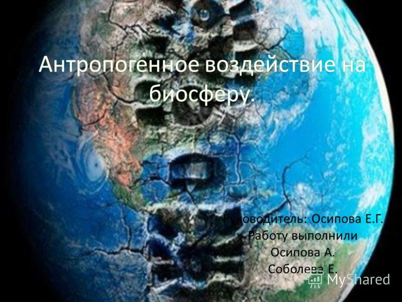 Руководитель: Осипова Е.Г. Работу выполнили Осипова А. Соболева Е.
