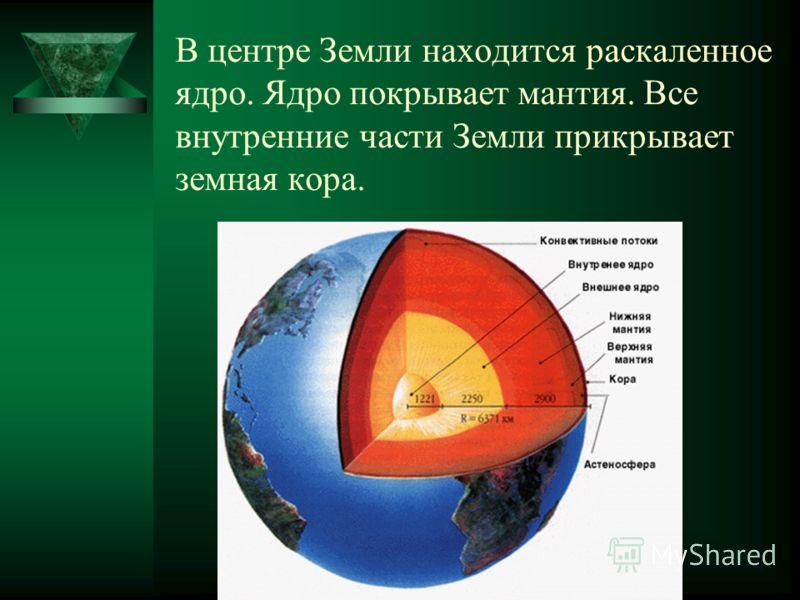 В центре Земли находится раскаленное ядро. Ядро покрывает мантия. Все внутренние части Земли прикрывает земная кора.