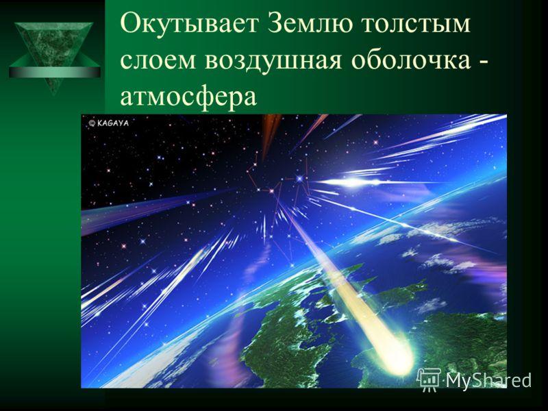 Окутывает Землю толстым слоем воздушная оболочка - атмосфера