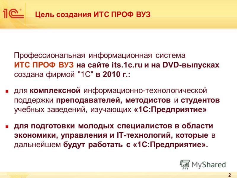 2 Цель создания ИТС ПРОФ ВУЗ Профессиональная информационная система ИТС ПРОФ ВУЗ на сайте its.1c.ru и на DVD-выпусках создана фирмой