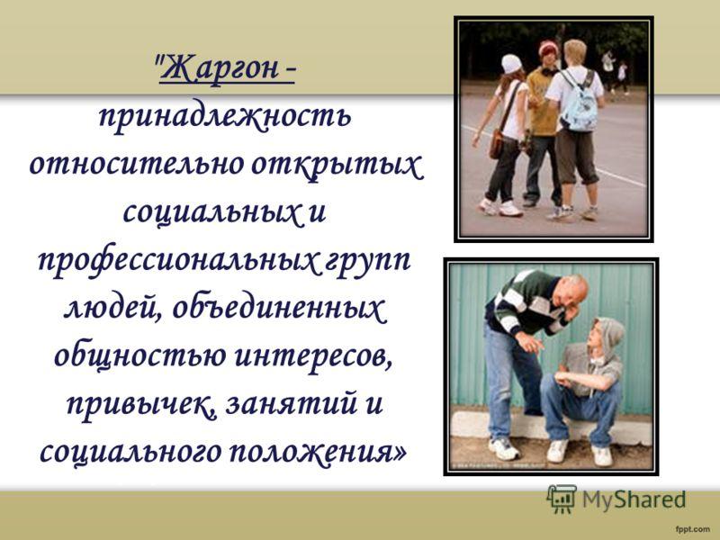 Жаргон - принадлежность относительно открытых социальных и профессиональных групп людей, объединенных общностью интересов, привычек, занятий и социального положения»