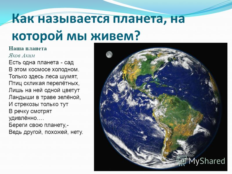 Как называется планета, на которой мы живем? Наша планета Яков Аким Есть одна планета - сад В этом космосе холодном. Только здесь леса шумят, Птиц скликая перелётных, Лишь на ней одной цветут Ландыши в траве зелёной, И стрекозы только тут В речку смо