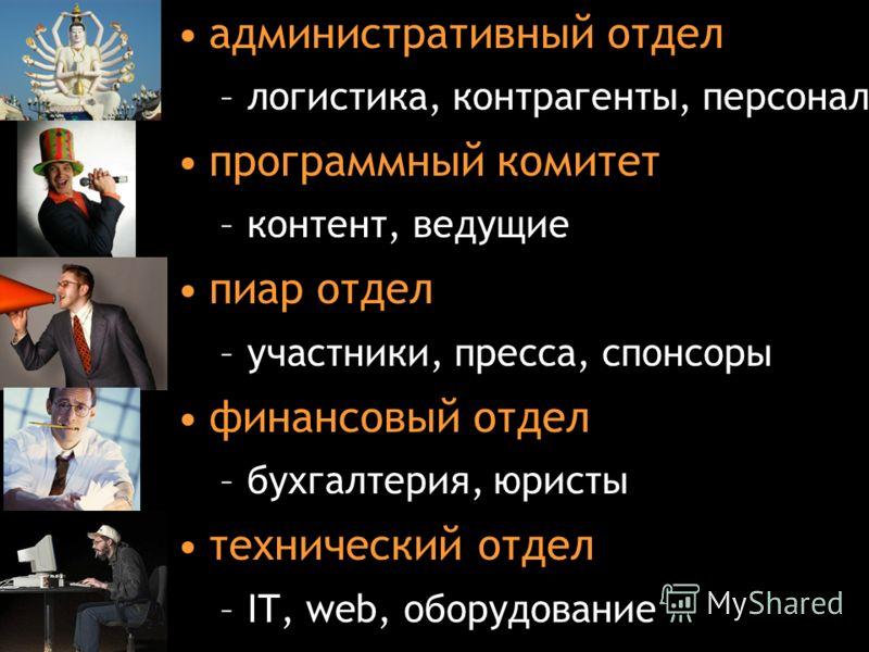 lewdmila@timepad.ru административный отдел –логистика, контрагенты, персонал программный комитет –контент, ведущие пиар отдел –участники, пресса, спонсоры финансовый отдел –бухгалтерия, юристы технический отдел –IT, web, оборудование