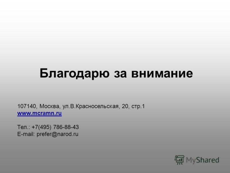Благодарю за внимание 107140, Москва, ул.В.Красносельская, 20, стр.1 www.mcramn.ru Тел.: +7(495) 786-88-43 E-mail: prefer@narod.ru