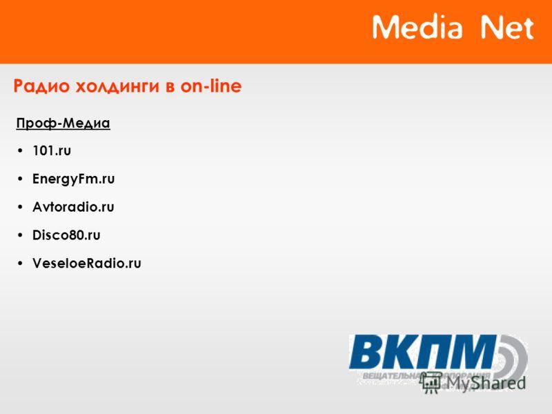 Радио холдинги в on-line Проф-Медиа 101.ru EnergyFm.ru Avtoradio.ru Disco80.ru VeseloeRadio.ru