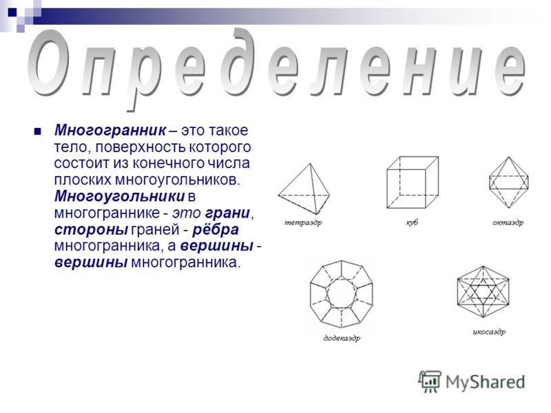 Многогранник – это такое тело, поверхность которого состоит из конечного числа плоских многоугольников. Многоугольники в многограннике - это грани, стороны граней - рёбра многогранника, а вершины - вершины многогранника.