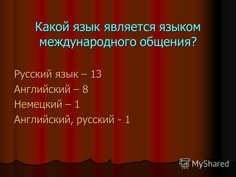 Какой язык является языком международного общения? Русский язык – 13 Английский – 8 Немецкий – 1 Английский, русский - 1