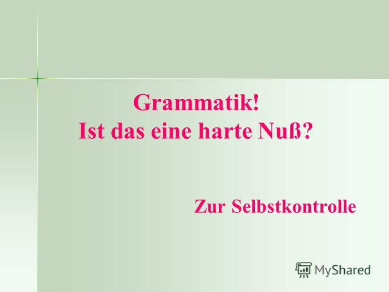 Grammatik! Ist das eine harte Nuß? Zur Selbstkontrolle