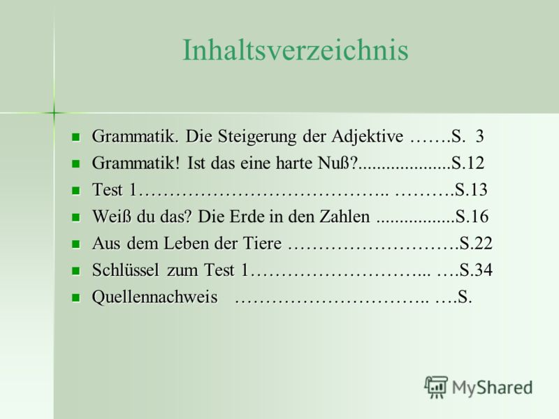 Inhaltsverzeichnis grammatik die steigerung der adjektive s 3