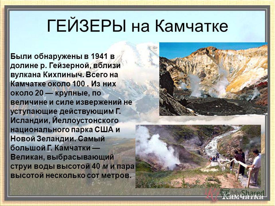 Были обнаружены в 1941 в долине р. Гейзерной, вблизи вулкана Кихпиныч. Всего на Камчатке около 100. Из них около 20 крупные, по величине и силе извержений не уступающие действующим Г. Исландии, Йеллоустонского национального парка США и Новой Зеландии