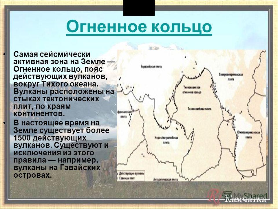 Огненное кольцо Самая сейсмически активная зона на Земле Огненное кольцо, пояс действующих вулканов, вокруг Тихого океана. Вулканы расположены на стыках тектонических плит, по краям континентов. В настоящее время на Земле существует более 1500 действ