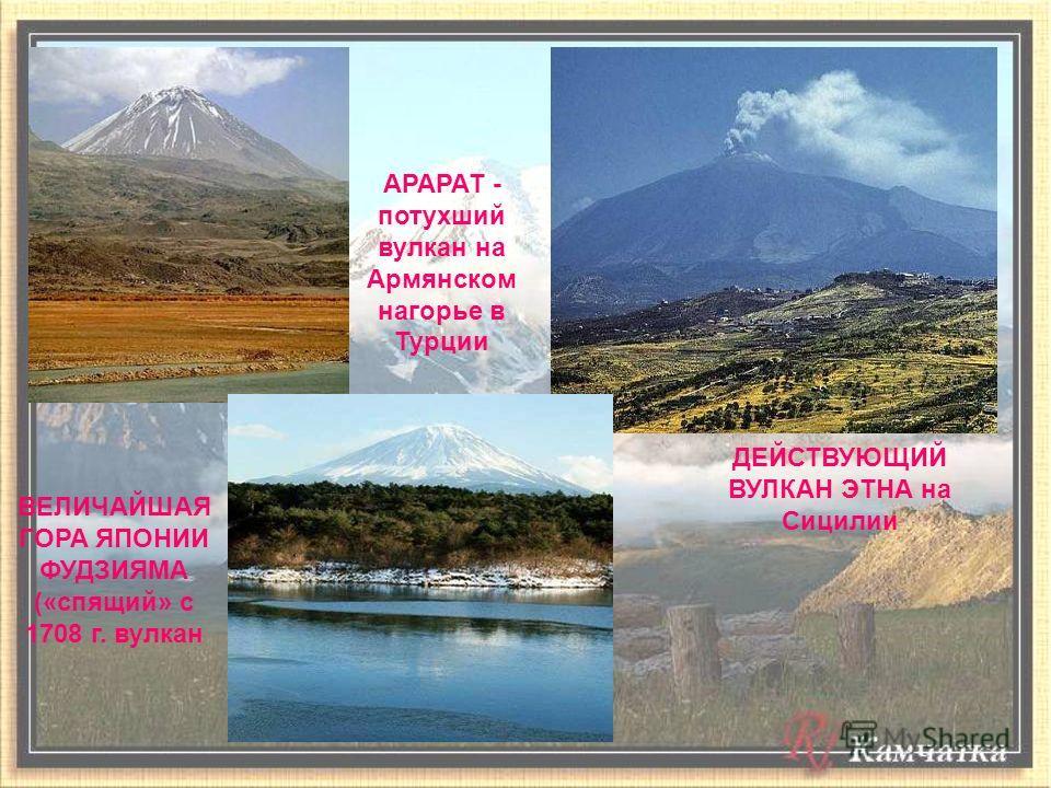 АРАРАТ - потухший вулкан на Армянском нагорье в Турции ДЕЙСТВУЮЩИЙ ВУЛКАН ЭТНА на Сицилии ВЕЛИЧАЙШАЯ ГОРА ЯПОНИИ ФУДЗИЯМА («спящий» с 1708 г. вулкан