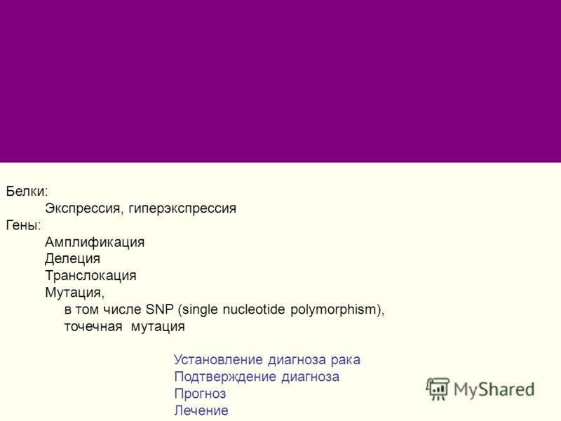 Белки: Экспрессия, гиперэкспрессия Гены: Амплификация Делеция Транслокация Мутация, в том числе SNP (single nucleotide polymorphism), точечная мутация Установление диагноза рака Подтверждение диагноза Прогноз Лечение