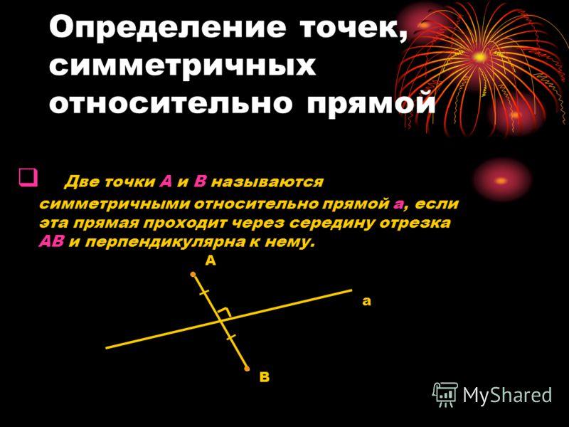 Определение точек, симметричных относительно прямой Две точки А и В называются симметричными относительно прямой а, если эта прямая проходит через середину отрезка АВ и перпендикулярна к нему. А В a