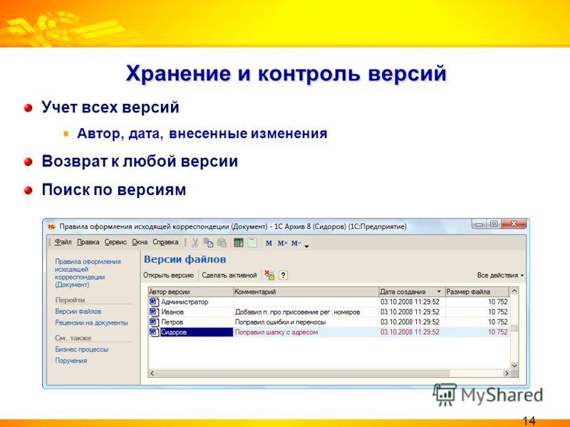 Хранение и контроль версий Учет всех версий Автор, дата, внесенные изменения Возврат к любой версии Поиск по версиям 14