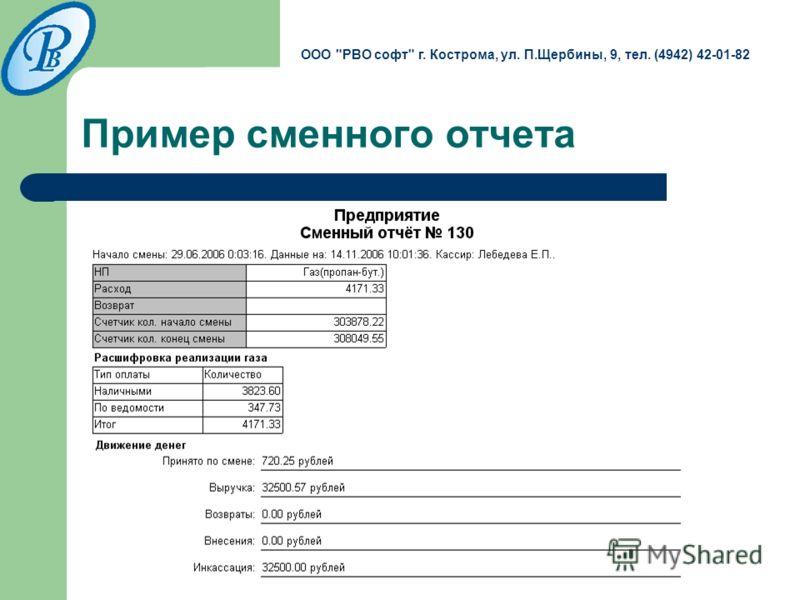 Пример сменного отчета ООО РВО софт г. Кострома, ул. П.Щербины, 9, тел. (4942) 42-01-82