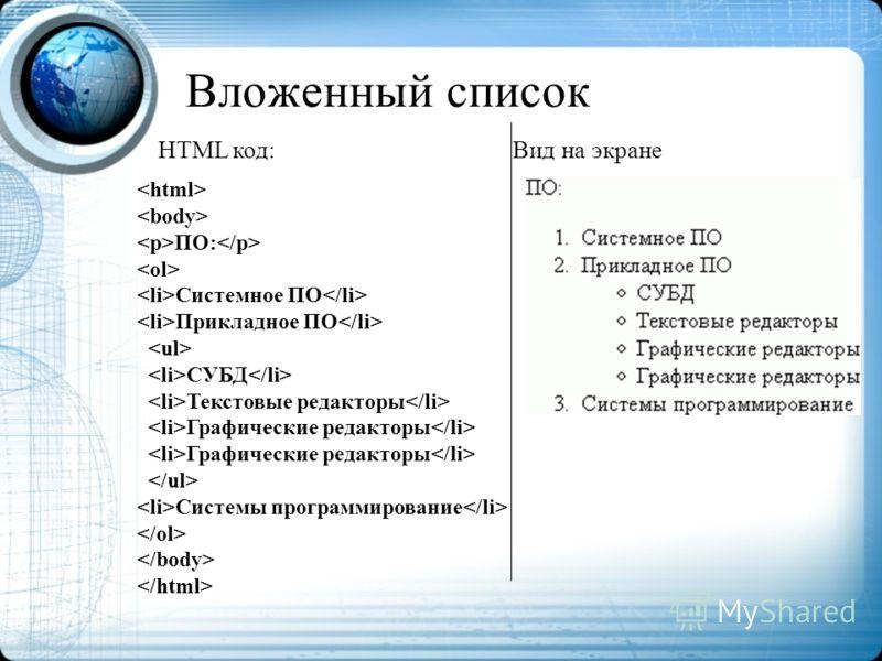 Вложенный список ПО: Системное ПО Прикладное ПО СУБД Текстовые редакторы Графические редакторы Системы программирование HTML код: Вид на экране