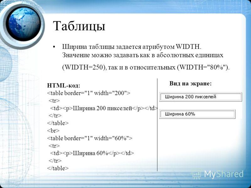 Таблицы Ширина таблицы задается атрибутом WIDTH. Значение можно задавать как в абсолютных единицах (WIDTH=250), так и в относительных (WIDTH=80%). HTML-код: Ширина 200 пикселей Ширина 60% Вид на экране: