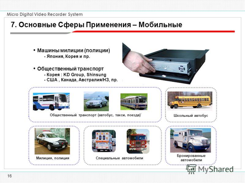 16 Micro Digital Video Recorder System Машины милиции (полиции) - Япония, Корея и пр. Общественный транспорт - Корея : KD Group, Shinsung - США, Канада, Австралия/НЗ, пр. Школьный автобус Бронированные автомобили Общественный транспорт (автобус, такс