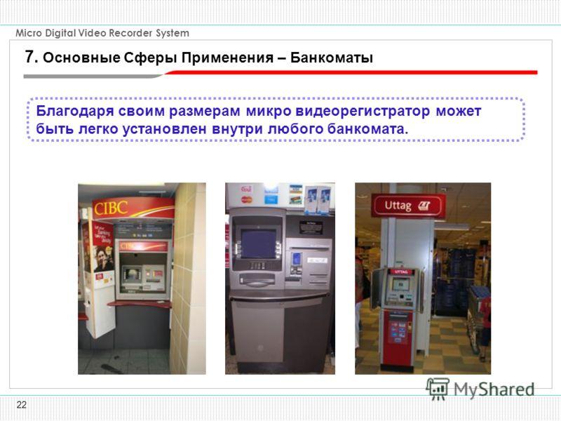 22 Micro Digital Video Recorder System Благодаря своим размерам микро видеорегистратор может быть легко установлен внутри любого банкомата. 7. Основные Сферы Применения – Банкоматы