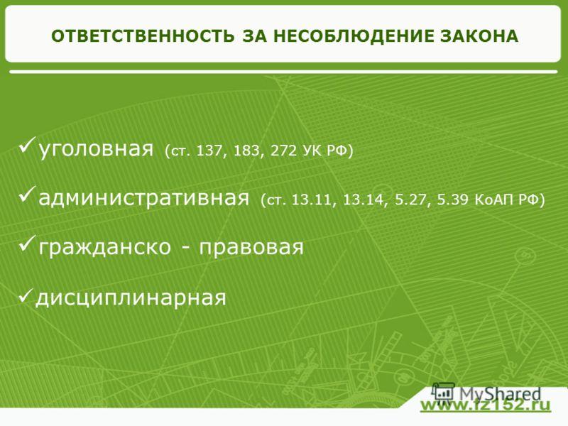 ОТВЕТСТВЕННОСТЬ ЗА НЕСОБЛЮДЕНИЕ ЗАКОНА уголовная (ст. 137, 183, 272 УК РФ) административная (ст. 13.11, 13.14, 5.27, 5.39 КоАП РФ) гражданско - правовая дисциплинарная
