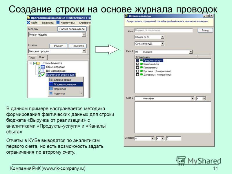 Компания РиК (www.rik-company.ru)11 Создание строки на основе журнала проводок В данном примере настраивается методика формирования фактических данных для строки бюджета «Выручка от реализации» с аналитиками «Продукты-услуги» и «Каналы сбыта» Отчеты