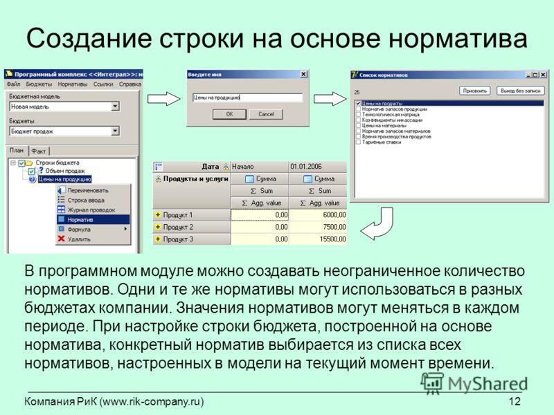Компания РиК (www.rik-company.ru)12 Создание строки на основе норматива В программном модуле можно создавать неограниченное количество нормативов. Одни и те же нормативы могут использоваться в разных бюджетах компании. Значения нормативов могут менят