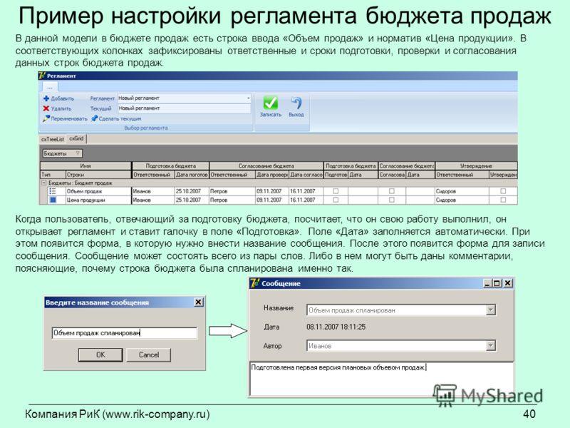 Компания РиК (www.rik-company.ru)40 Пример настройки регламента бюджета продаж В данной модели в бюджете продаж есть строка ввода «Объем продаж» и норматив «Цена продукции». В соответствующих колонках зафиксированы ответственные и сроки подготовки, п