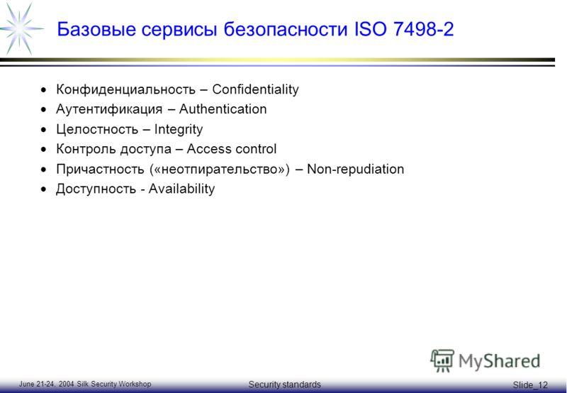 June 21-24, 2004 Silk Security Workshop Security standards Slide_12 Базовые сервисы безопасности ISO 7498-2 Конфиденциальность – Confidentiality Аутентификация – Authentication Целостность – Integrity Контроль доступа – Access control Причастность («
