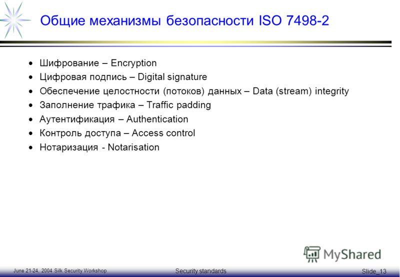 June 21-24, 2004 Silk Security Workshop Security standards Slide_13 Общие механизмы безопасности ISO 7498-2 Шифрование – Encryption Цифровая подпись – Digital signature Обеспечение целостности (потоков) данных – Data (stream) integrity Заполнение тра