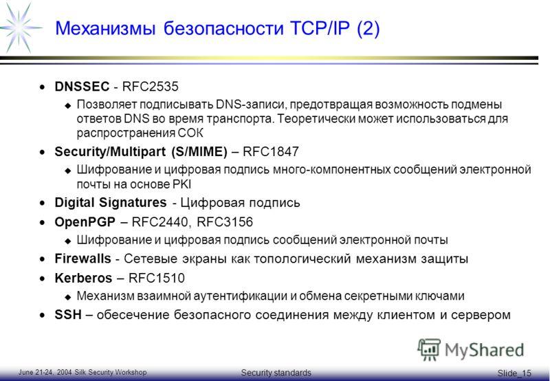 June 21-24, 2004 Silk Security Workshop Security standards Slide_15 Механизмы безопаcности TCP/IP (2) DNSSEC - RFC2535 u Позволяет подписывать DNS-записи, предотвращая возможность подмены ответов DNS во время транспорта. Теоретически может использова