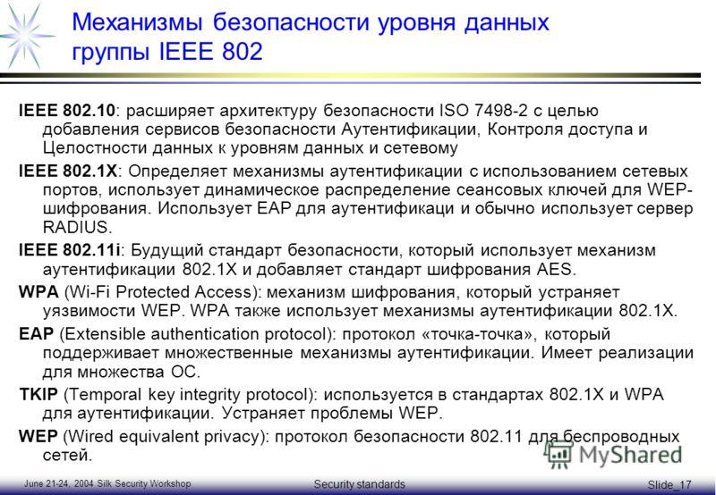 June 21-24, 2004 Silk Security Workshop Security standards Slide_17 Механизмы безопасности уровня данных группы IEEE 802 IEEE 802.10: расширяет архитектуру безопасности ISO 7498-2 с целью добавления сервисов безопасности Аутентификации, Контроля дост