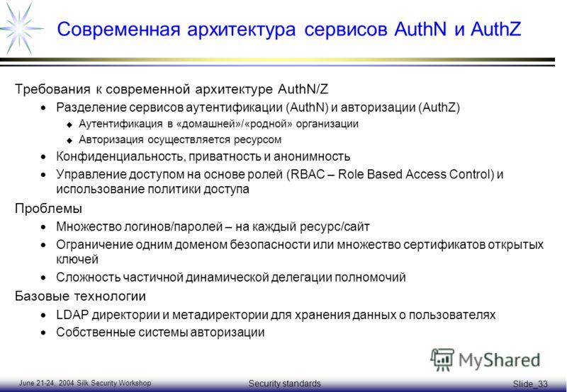 June 21-24, 2004 Silk Security Workshop Security standards Slide_33 Современная архитектура сервисов AuthN и AuthZ Требования к современной архитектуре AuthN/Z Разделение сервисов аутентификации (AuthN) и авторизации (AuthZ) u Аутентификация в «домаш